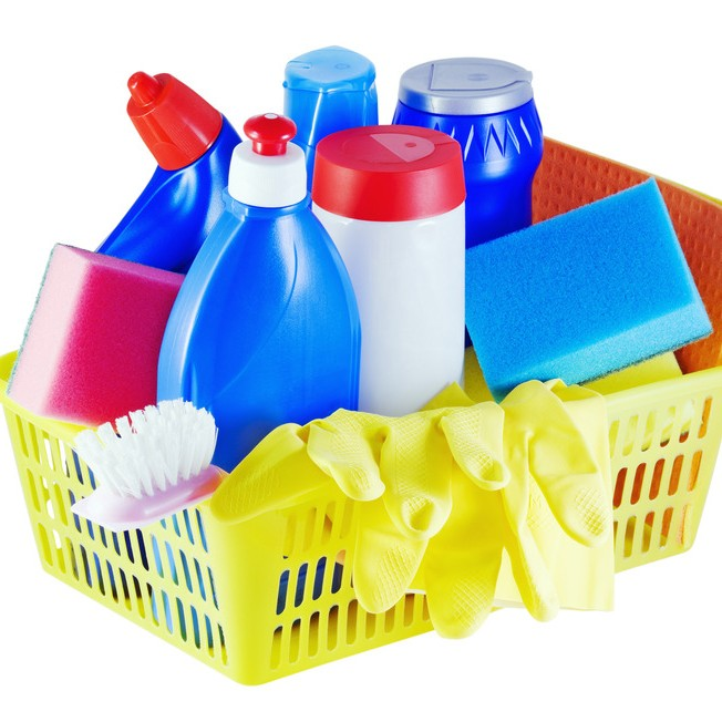 bin of plastic cleaning products