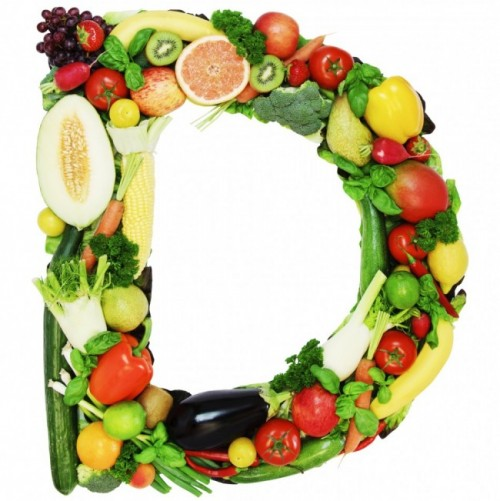 letter D made from fruits and vegetables