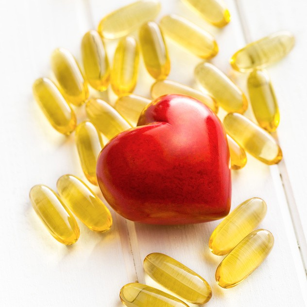 fish oil capsules with read heart