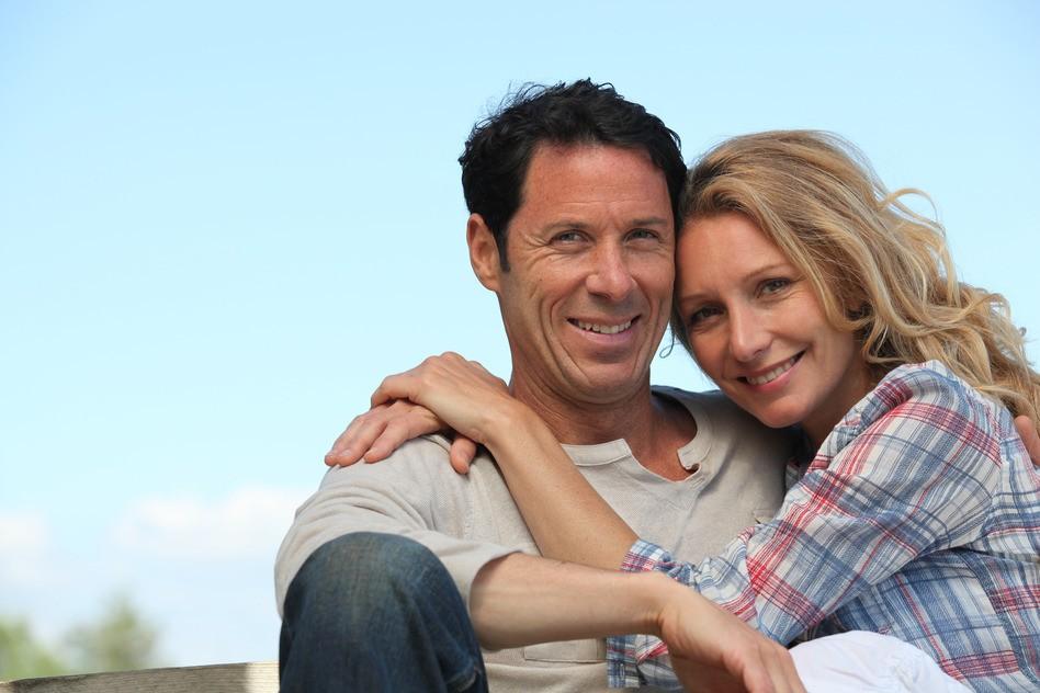 happy healthy couple outside