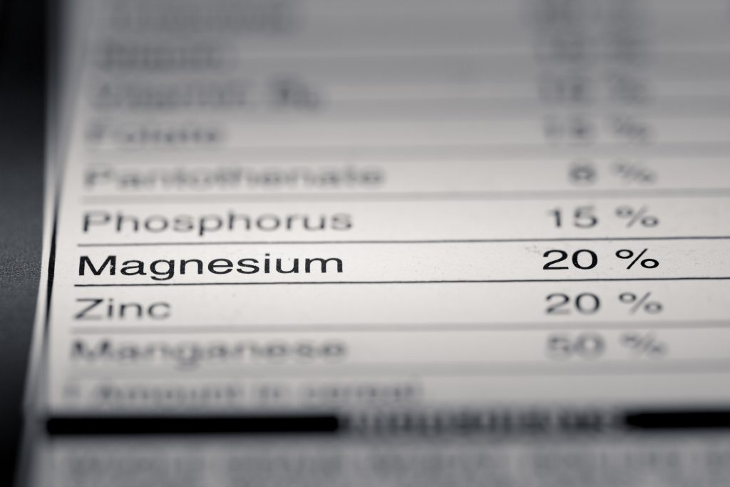 Nutrition Facts Label highlighting magnesium