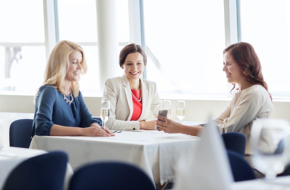 happy women at restaurant