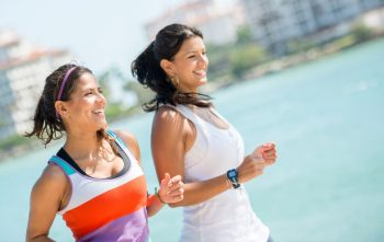 Women with healthy skin running outdoors