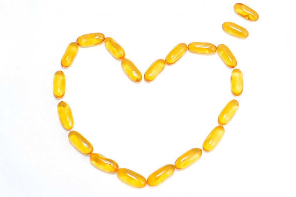 fish oil capsules in the shape of a heart